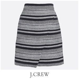 J Crew Tweed Envelope Skirt Black & White Size 00